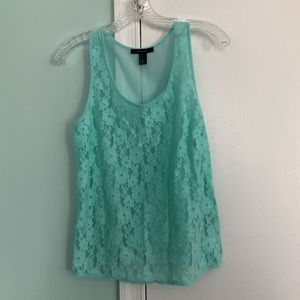 Mint Green Lace and Sheer Tank Top | Forever 21